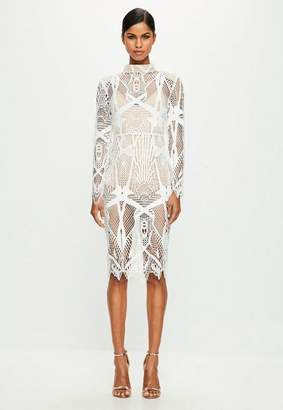 Missguided White Intricate Lace High Neck Midi Dress