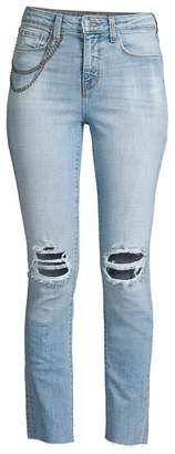 L'Agence Luna High-Rise Straight-Fit Chain Detail Distressed Jeans