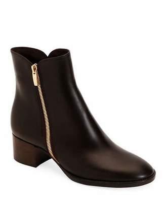 Gianvito Rossi Low-Heel Smooth Leather Zip Booties