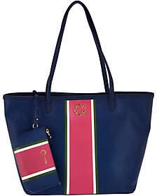 C. WonderC. Wonder Large Racing Stripe Printed Tote Bag with Mini Pouch