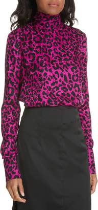 Milly Leopard Print Silk Jacquard Top