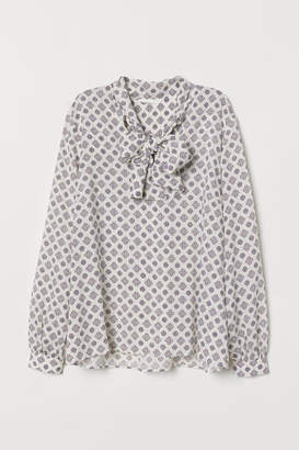 H&M Patterned Blouse with Ties - White