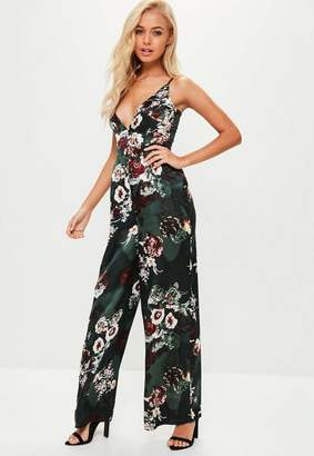 Missguided Floral Satin Cami Wide Leg Playsuit
