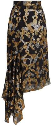 Peter Pilotto Asymmetric Fil Coupe Silk Blend Midi Skirt - Womens - Black Gold