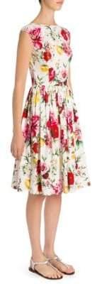 Dolce & Gabbana Floral-Print Cap-Sleeve Dress