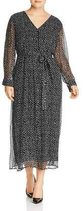 Lucky Brand Plus Dot Print Maxi Dress