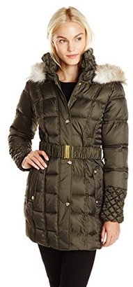 Betsey Johnson Women's Puffer Coat with Faux-Fur Hood $148.80 thestylecure.com