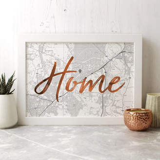 Well Bred Design Personalised Home / Love / Family Map Print With Foil