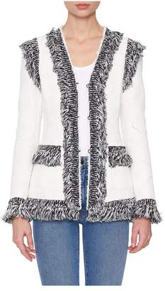 Giambattista Valli Tweed Contrasting-Fringe Jacket