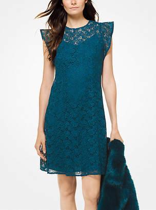 Michael Kors Floral Lace Flounce-Sleeve Dress