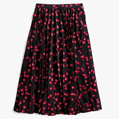 J.Crew Petite pleated midi skirt in cherry print