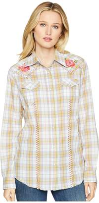 Wrangler Long Sleeve Woven Zigzag Stitch Bison Print Snap Women's Long Sleeve Button Up
