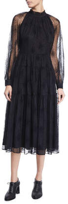 Co Ruffle-Neck Long-Sleeve Floral-Embroidered Tiered Mesh Dress