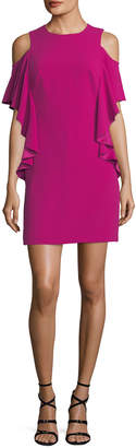 Trina Turk Lambada Cold-Shoulder Ruffled Sheath Dress