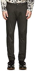 Barneys New York MEN'S GROSGRAIN-ACCENTED STRETCH-COTTON TROUSERS-DARK GRAY SIZE 34