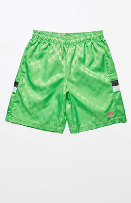 Umbro Tri-Check Green Nylon Active Shorts