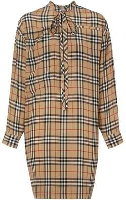 Burberry Vintage Check Silk Tie-neck Dress