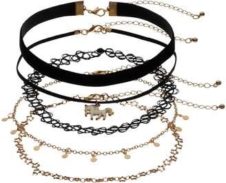 Unicorn, Star & Tattoo Choker Necklace Set