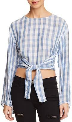 Bella Dahl Tie-Front Button-Down Gingham Top