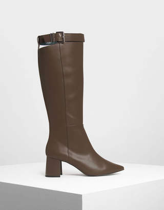 Charles & Keith Buckled Strap Detail Knee Boots