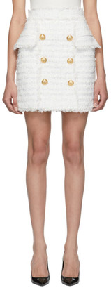 Balmain White and Gold Tweed High-Waisted Miniskirt