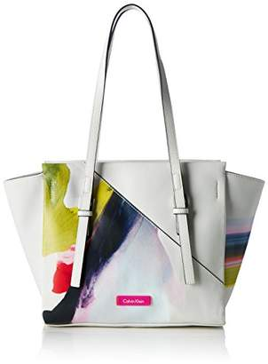 Calvin Klein Women's M4RISSA Print Medium Tote Bag, (Powder White), (b x h x t)