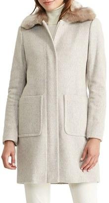 Women's Lauren Ralph Lauren Wool Blend Coat With Faux Fur Collar $350 thestylecure.com
