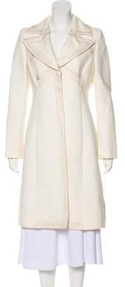 Versace Leather-Trimmed Knee-Length Coat