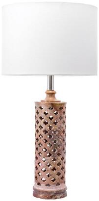 nuLoom 24In Vlasta Marble Trellis Cotton Shade Table Lamp