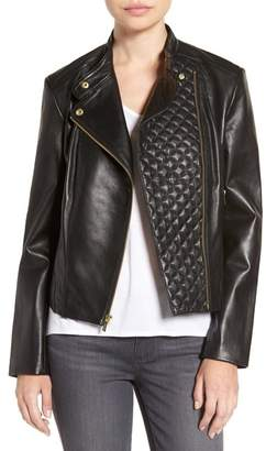 Cole Haan Quilted Leather Moto Jacket