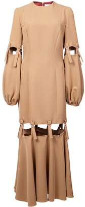 Sara Battaglia camel loop strap cut out dress neutral