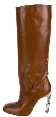 Dries Van Noten Snakeskin-Trimmed Leather Boots