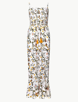 Marks and Spencer Floral Print Shirred Slip Beach Dress