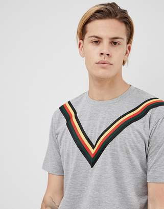 Asos DESIGN relaxed longline t-shirt with chevron taping in gray marl