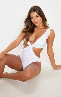 db87c7d6c3 PrettyLittleThing White Frill Edge Cut Out Swimsuit
