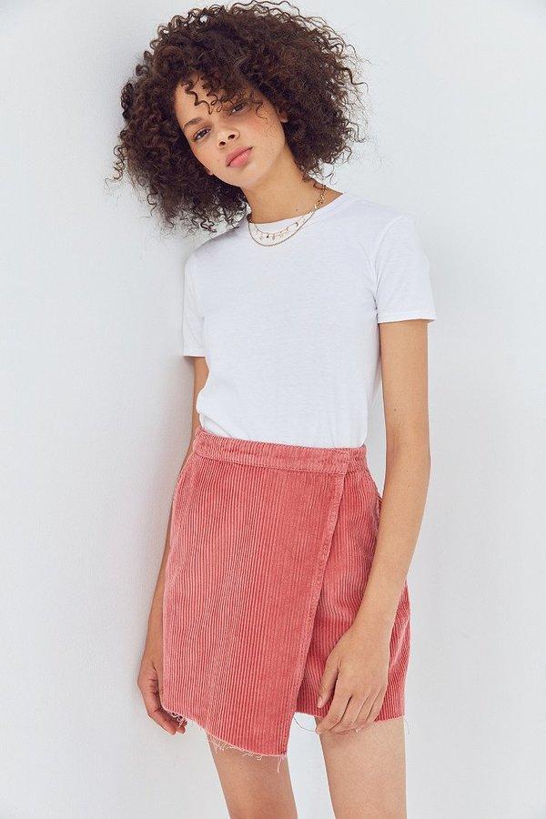 BDG Raw-Edge Corduroy Mini Wrap Skirt