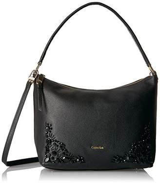 Calvin Klein Pebble Vertical Front Zip Embellished Crossbody Hobo Bag