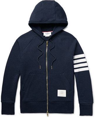Striped Loopback Cotton-Jersey Zip-Up Hoodie $690 thestylecure.com
