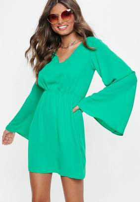 Missguided Green Plunge Kimono Sleeve Mini Dress
