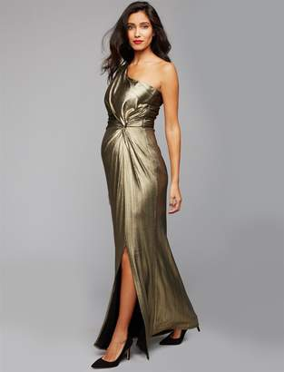 Pea Collection Laundry One Shoulder Metallic Maternity Gown