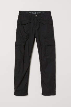 H&M Jersey-lined Cargo Pants - Black