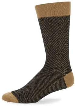 Marcoliani Mid-Calf Knitted Herringbone Cotton Socks