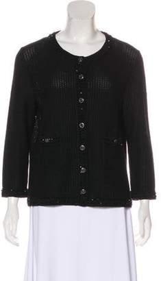 Chanel Embellished Knit Cardigan Black Embellished Knit Cardigan