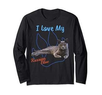 I Love My Russian Blue Cat Lover Paw Print Long Sleeve Tee!