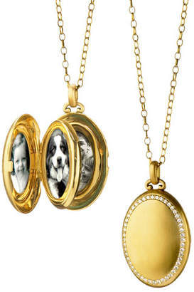 Monica Rich Kosann 18K Gold Premier Satin-Finish Locket Necklace with Diamonds