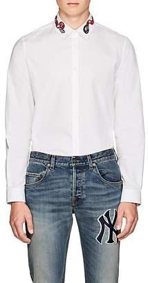 757f4d39e937 Gucci Men's Kingsnake-Embroidered Cotton Poplin Shirt - White