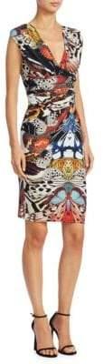Roberto Cavalli Butterfly Printed V-Neck Dress