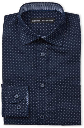 Report Collection Boys 8-20) Navy Floral Dress Shirt