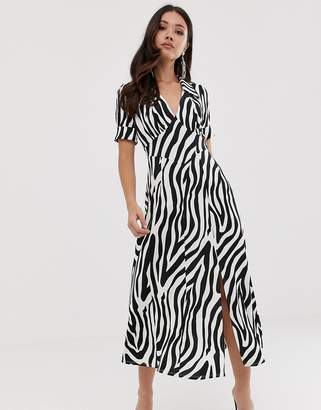 Asos Design DESIGN animal print midi tea dress