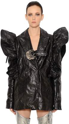Ruffle Shoulders Wrinkled Leather Jacket